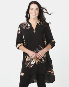 Queenspark Plus Printed Longer Length Blouse Black