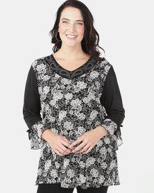 Queenspark Plus Printed Mesh Fancy Knit Top Black