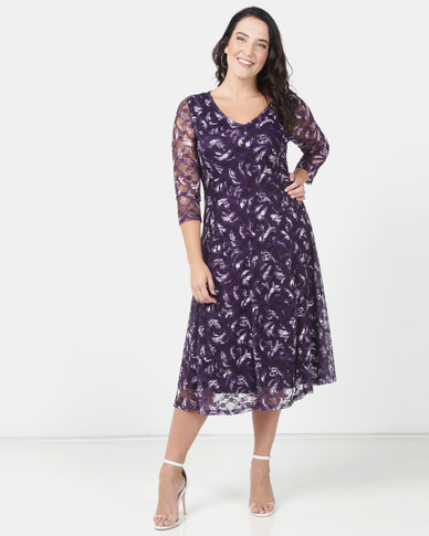 Queenspark Plus Printed Lace Fit & Flare Knit Dress Purple