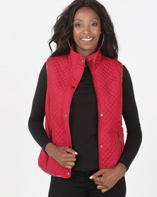 Queenspark Piped Puffer Gilet Woven Jacket Red