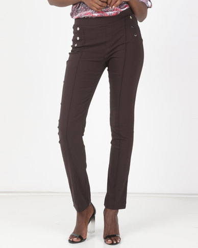Queenspark Button Detail Pull-On Stretch Bengaline Woven Slacks Chocolate