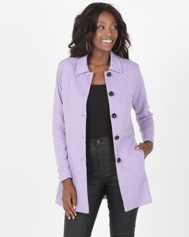Queenspark Zigzag Knit Coat Lilac