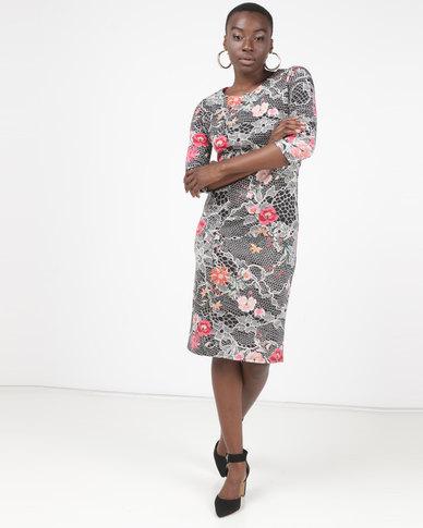 Queenspark Faux Lace Floral Print Knit Dress Multi