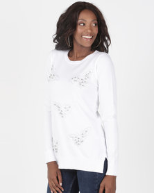Queenspark Butterfly Beauty Crewneck Jersey Cream