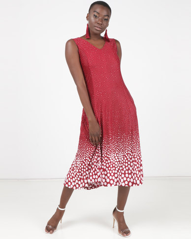 Queenspark Multi Spot Design Fit & Flare Knit Dress Red