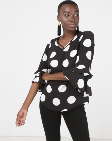 Queenspark Large Spot Design Woven Blouse Black & White
