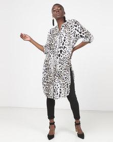Queenspark Animal Print Shirt Woven Dress Multi