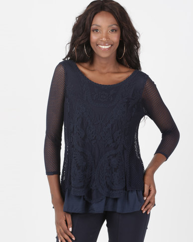 Queenspark Lace Melody Long Sleeve Knit Top Navy