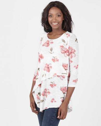 Queenspark Floral 3/4 Sleeve Double Layer Knit Top Multi