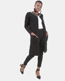 Queenspark Pearl Trim Knitwear Coatigan Black