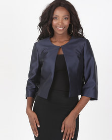 Queenspark Plain Taffeta Woven Jacket Navy