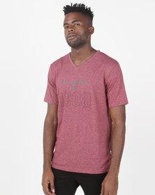 Lee Cooper M Ethan Logo T-Shirt Burgundy Grindle
