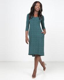 Nucleus Curve 3/4 Sleeve Dress Blue/Green