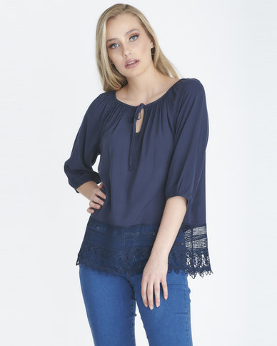 Contempo Plain Viscose Top With Lace Navy