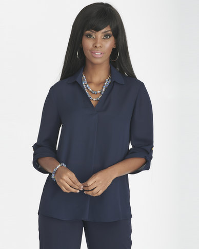 Contempo 3/4 Sleeve Top With Collar & Pleat Navy