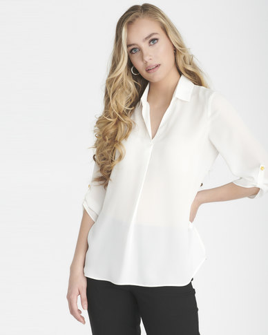Contempo 3/4 Sleeve Top With Collar & Pleat Ivory