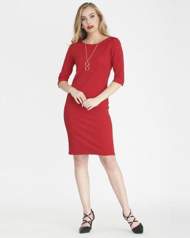Contempo Envelope Dress Red