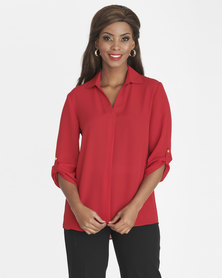 Contempo 3/4 Sleeve Top with Collar & Pleat Red