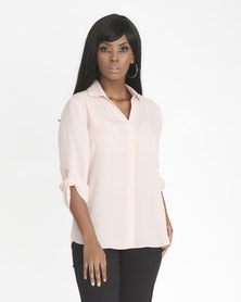 Contempo 3/4 Sleeve Top With Collar & Pleat Pink