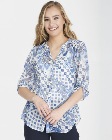Contempo Printed Blouse with Cami Blue