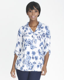 Contempo Collared Henley With Press Studs Blue