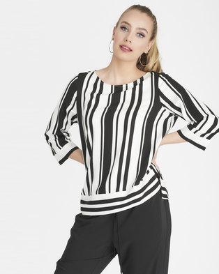 9dfd48284cf Contempo Stripe Top Black White
