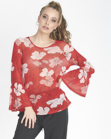 Contempo Floral Top Red
