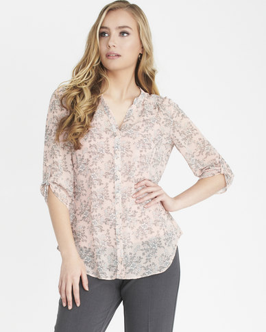 Contempo Printed Blouse With Cami Pink