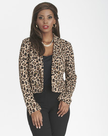 Contempo Double Breasted Animal Jacket Multi