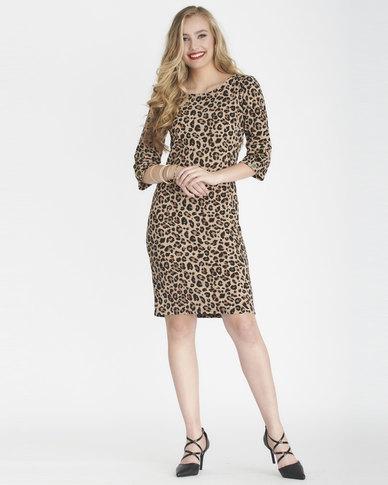 Contempo Animal Printed Liverpool Dress Multi