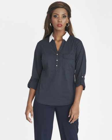 Contempo Woven Work Shirt Navy