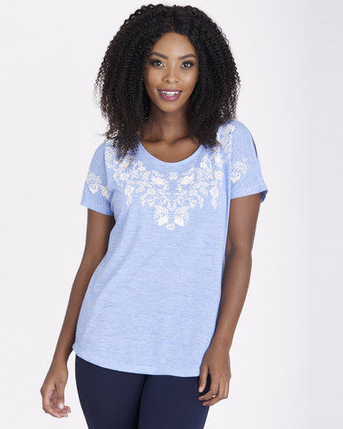 Contempo Melange Tee with Embroidery Blue