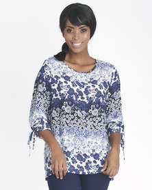 Contempo Floral Top With Tie Rouch Sleeve Navy