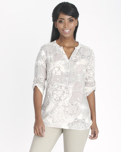 Contempo Printed Henley Top With Pocket Brown