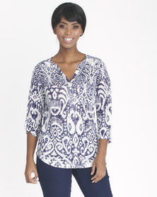 Contempo Burnout Henley Navy