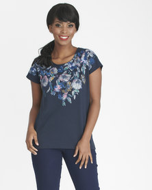 Contempo Florals With Frayed Top Navy