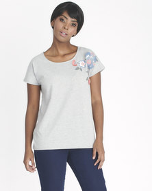 Contempo Florals With Frayed Top Grey