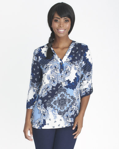 Contempo Printed Henley Ivory