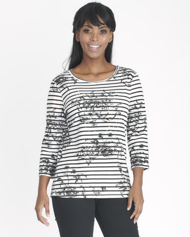 Contempo Stripe Top With Floral Print Ivory