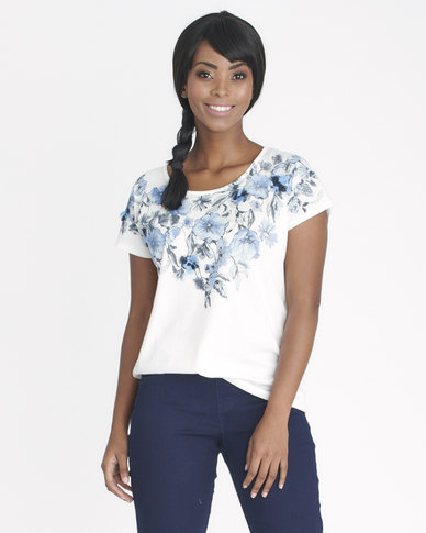 Contempo Florals With Frayed Top Ivory