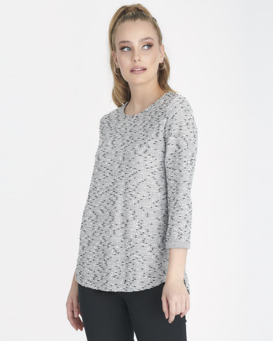 Contempo Boucle Top Grey