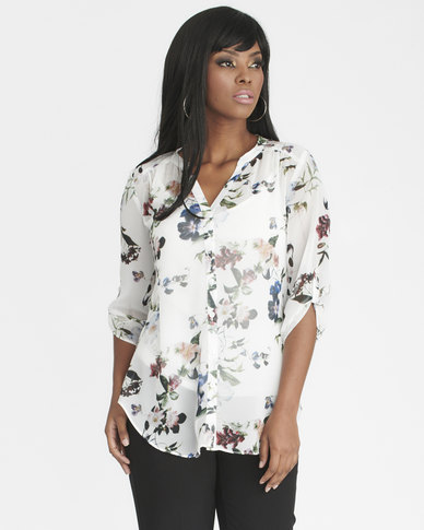 Contempo Printed Blouse With Cami Ivory