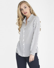 Contempo Workwear Shirt Navy / White