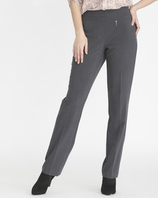 Contempo PU Pants with Mock Zip Grey