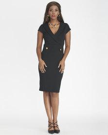 Contempo Amore V Neck Double Button Dress Black