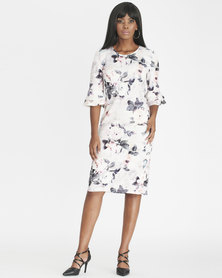 Contempo 3/4 Ruffle Sleeve Printed Dress Ivory
