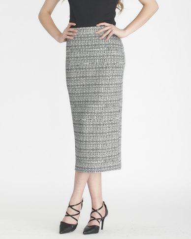 Contempo Printed Textured Skirt Ivory