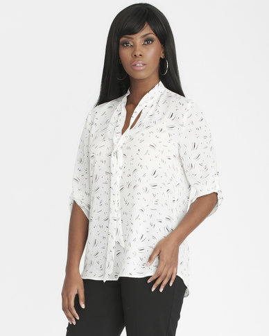 Contempo 3/4 Sleeve Printed Top With Neck Tie Ivory