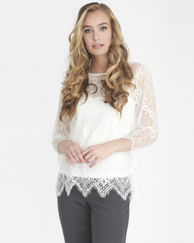 Contempo Scallop Lace Top With Cami Ivory