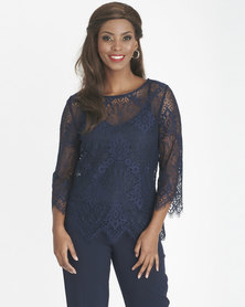 Contempo Scallop Lace Top With Cami Navy